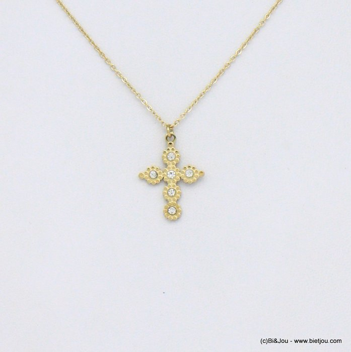 necklace 0120564-19 cross stainless steel strass
