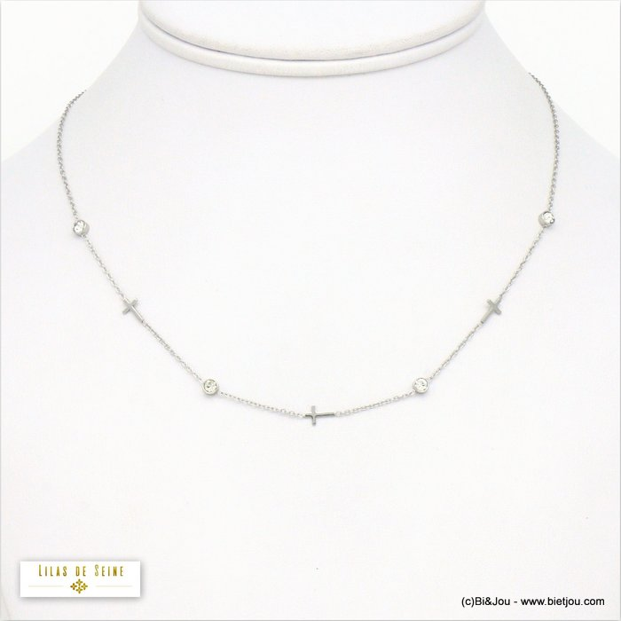 necklace 0120568-13 cross stainless steel strass