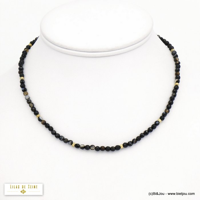 necklace 0120571-01 agate stone stainless steel woman 3mm