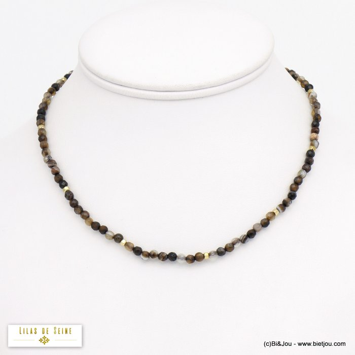 necklace 0120571-06 agate stone stainless steel woman 3mm