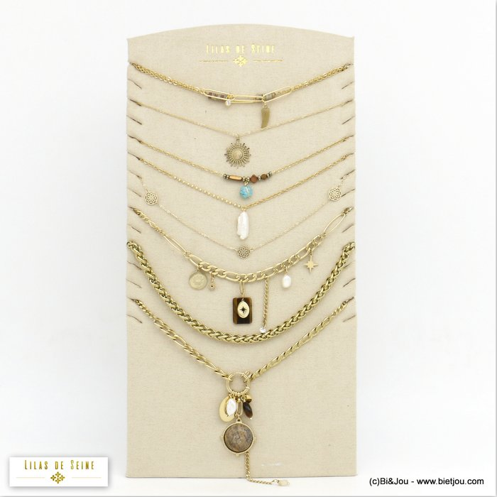 set of necklaces 0120546-99 7 pieces star snake eye horn stone crystal stainless steel woman