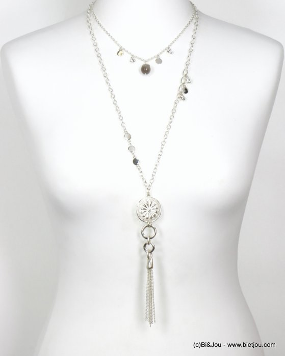 long necklace 0120578-13 tassel sautoir metal-strass-stone