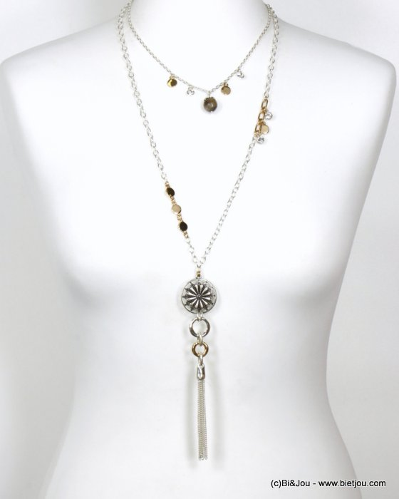 long necklace 0120578-14 tassel sautoir metal-strass-stone