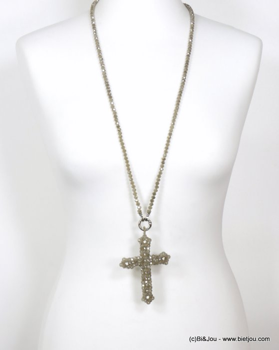 necklace 0120579-06 sautoir cross crystal-metal