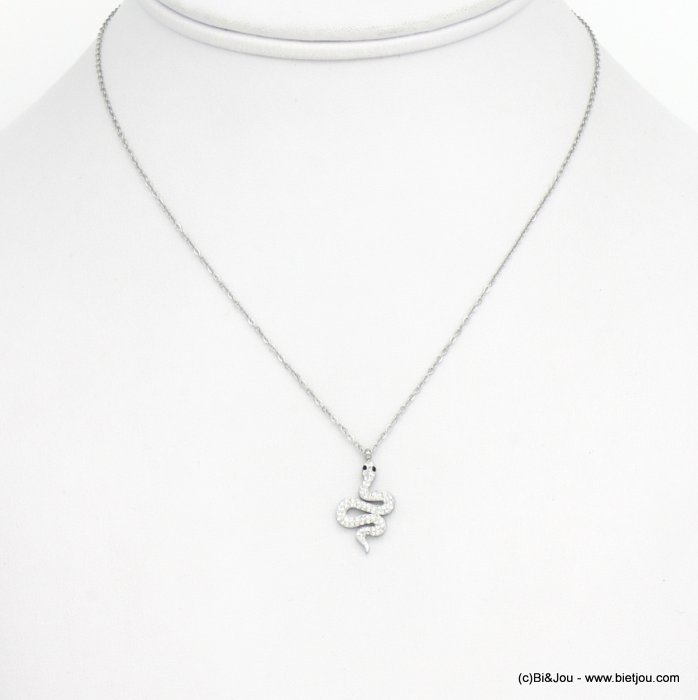 necklace 0120581-13 snake stainless steel strass