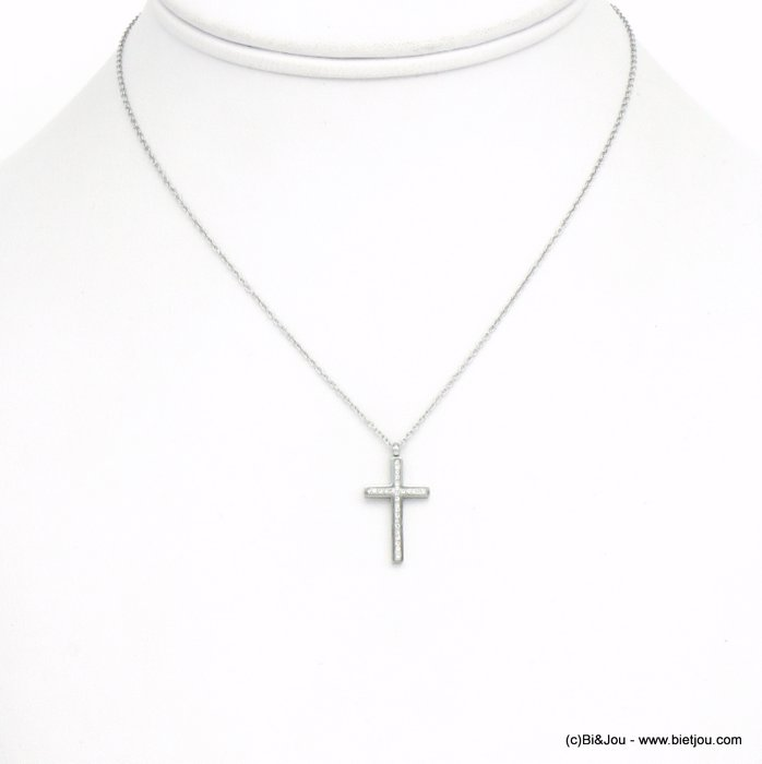 necklace 0120582-13 cross stainless steel strass