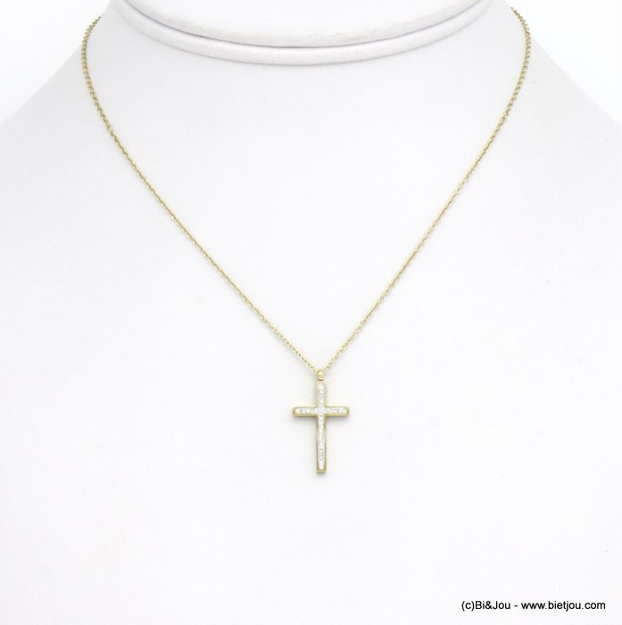 necklace 0120582-14 cross stainless steel strass