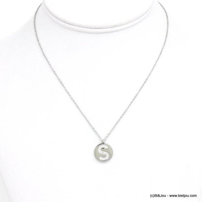 necklace 0120584-13 S letter medallion stainless steel strass