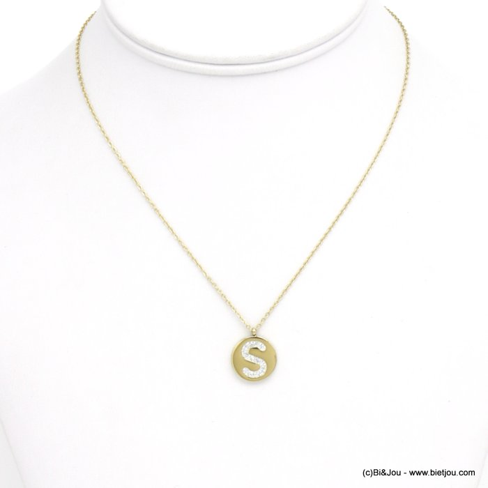 necklace 0120584-14 S letter medallion stainless steel strass