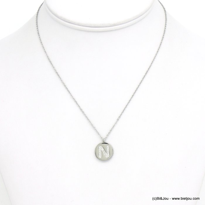 necklace 0120585-13 N letter medallion stainless steel strass
