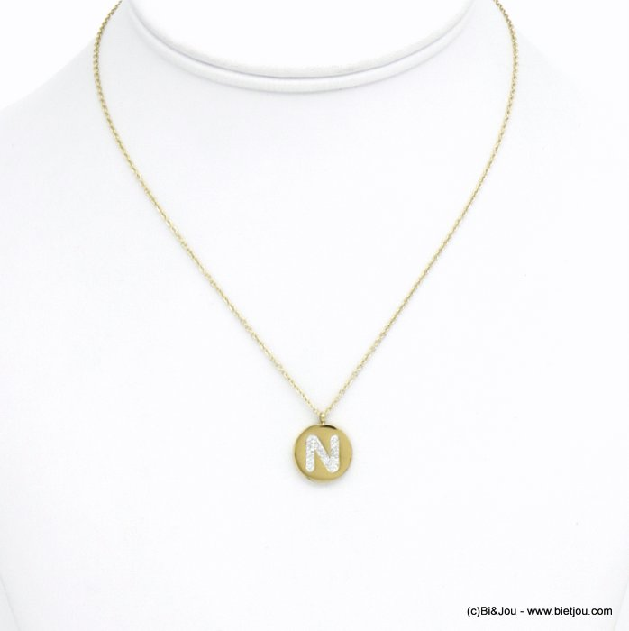 necklace 0120585-14 N letter medallion stainless steel strass
