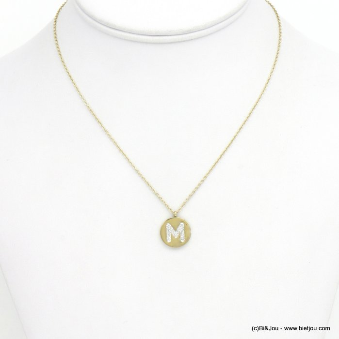 necklace 0120586-14 M letter medallion stainless steel strass