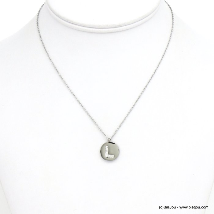 necklace 0120587-13 L letter medallion stainless steel strass