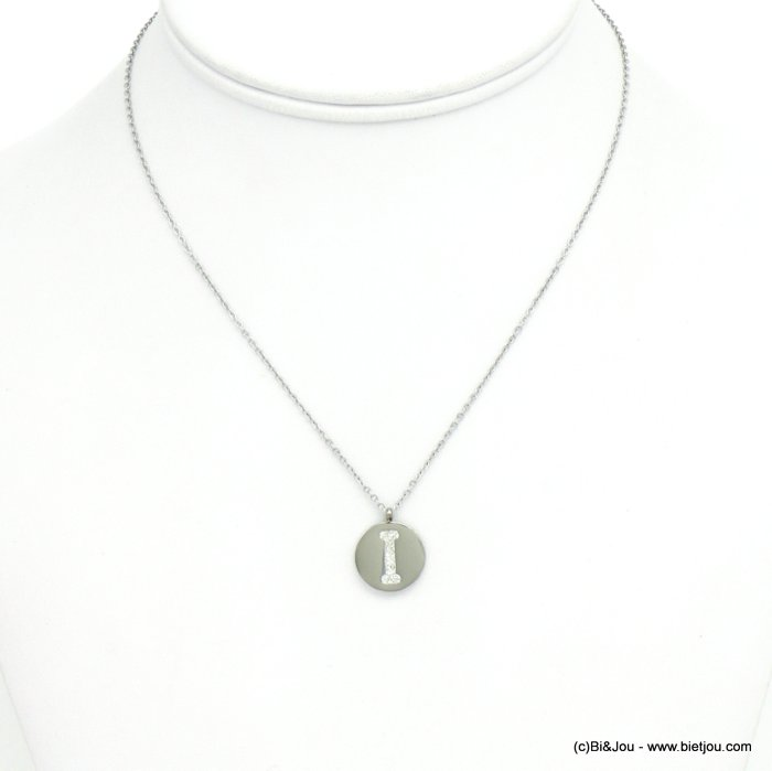 necklace 0120589-13 I letter medallion stainless steel strass