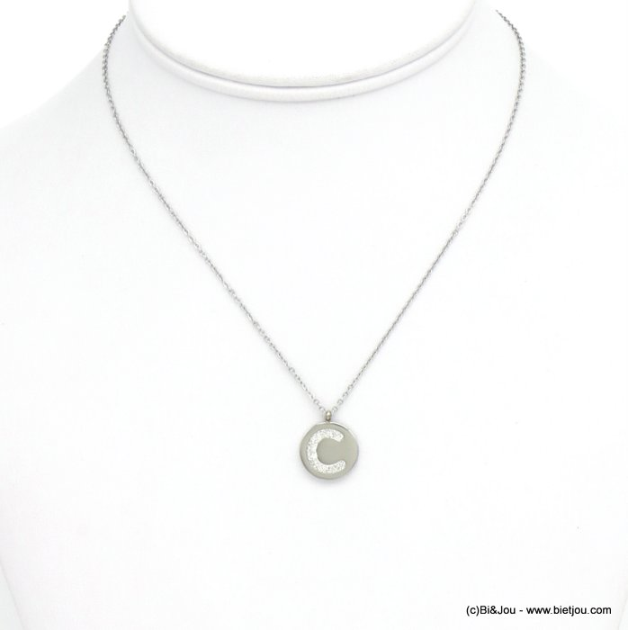 necklace 0120590-13 I letter medallion stainless steel strass