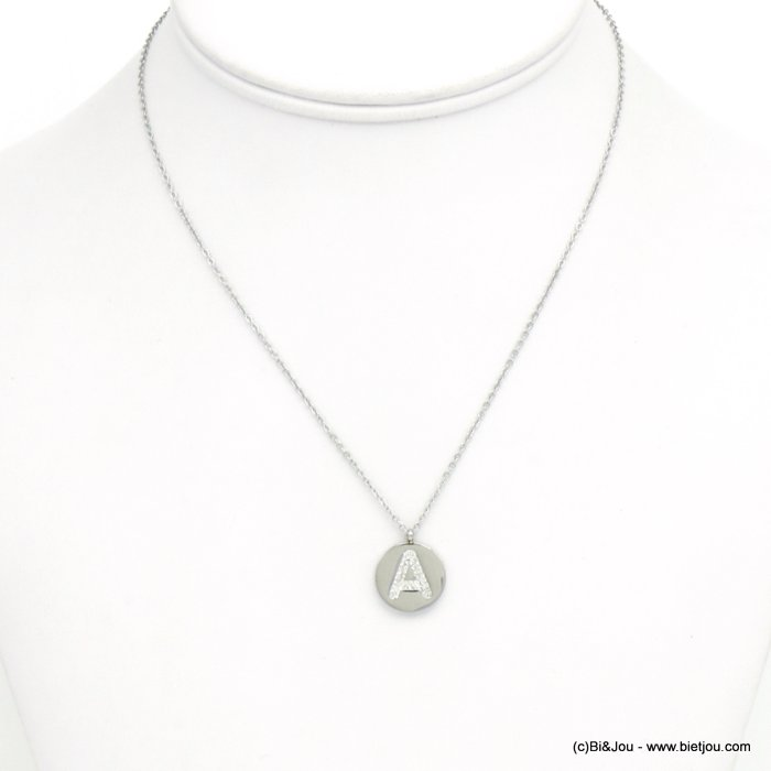 necklace 0120591-13 A letter medallion stainless steel strass