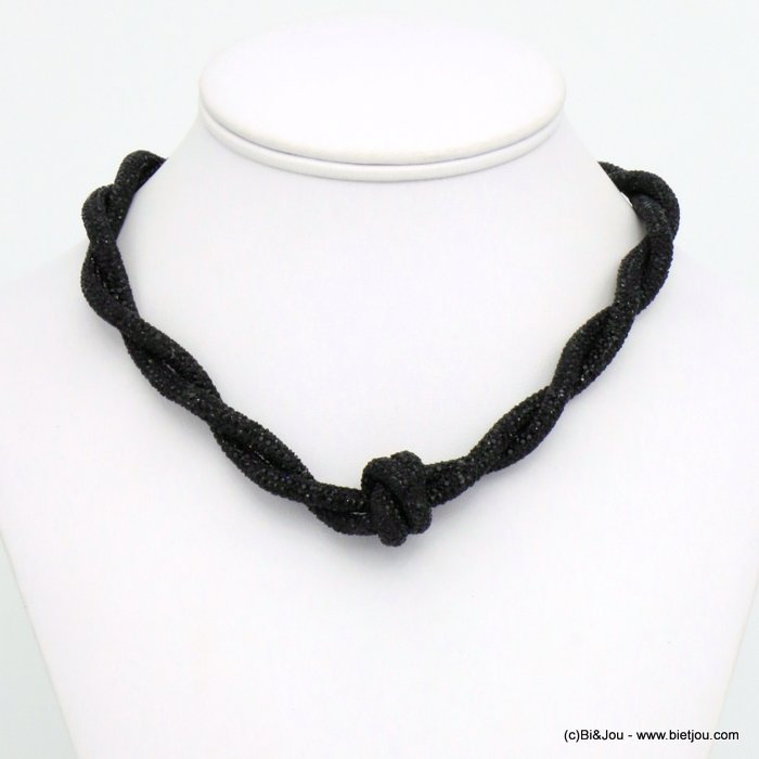 necklace 0120609-01 rhinestone tube knot