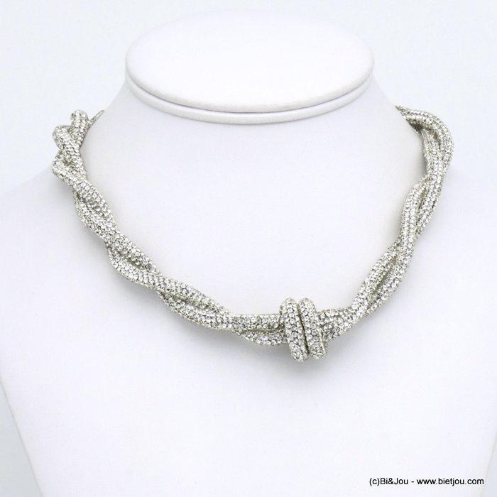 necklace 0120609-13 rhinestone tube knot