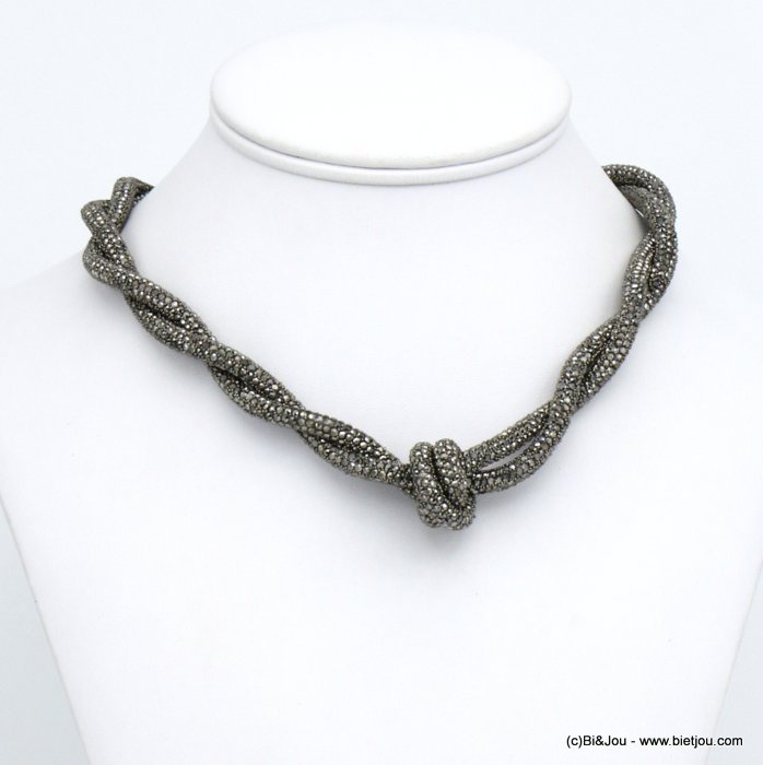 necklace 0120609-20 rhinestone tube knot