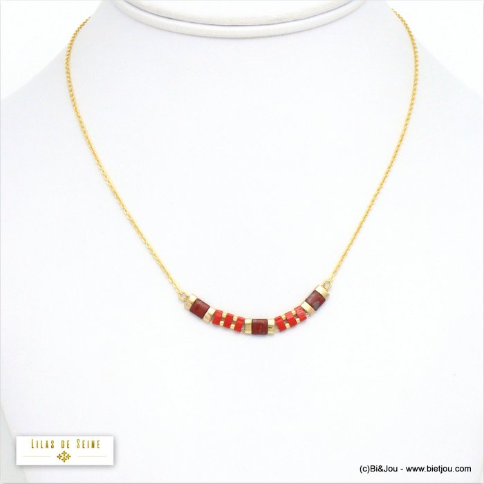 necklace 0120629-12 stainless steel-glass