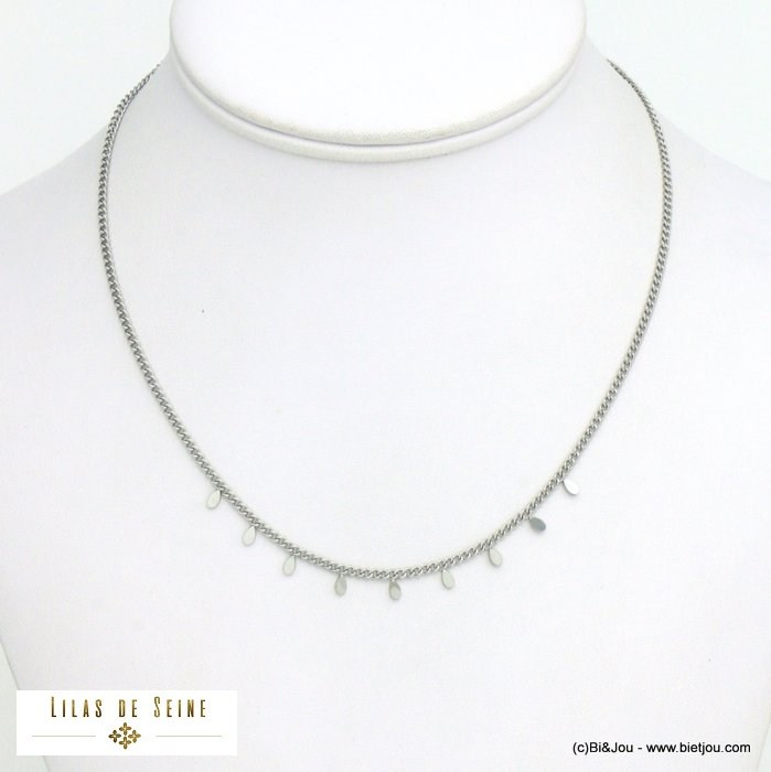 necklace 0121022-13 minimalist mini drop charms slave and curb link chain stainless steel woman