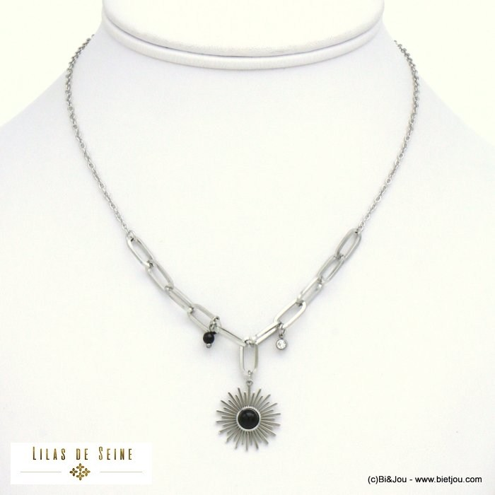 necklace 0121025-01 sun natural stone stainless steel woman