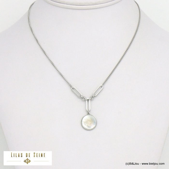 necklace 0121037-13 star stainless steel shell woman