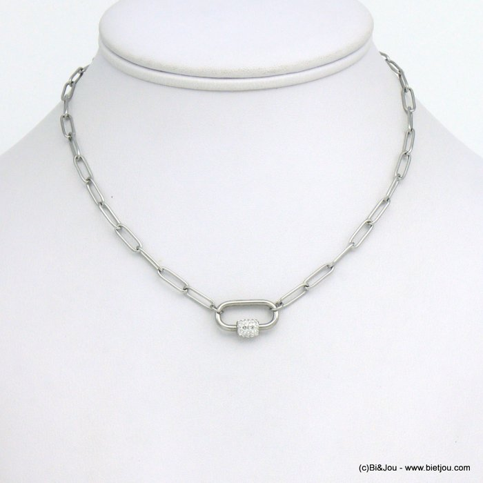 necklace 0121045-13 stainless steel strass woman