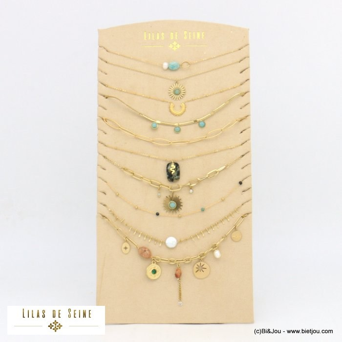 set of necklaces 0121066-14 10 pieces star snake eye sun stone crystal stainless steel pearl strass woman