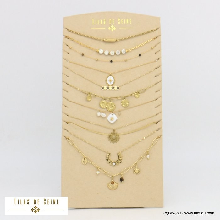 set of necklaces 0121067-14 10 pieces tassel AMOUR MOI TOI star snake sun stone crystal stainless steel pearl strass woman