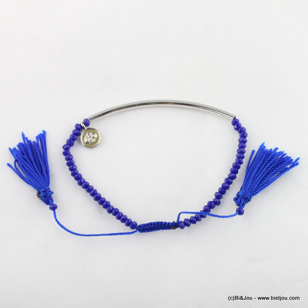 bracelet 0215089-09 tassel macrame knot synthetic-crystal-metal