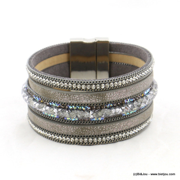 bracelet 0216555-25 magnetic clasp 35x190mm synthetic-metal-strass