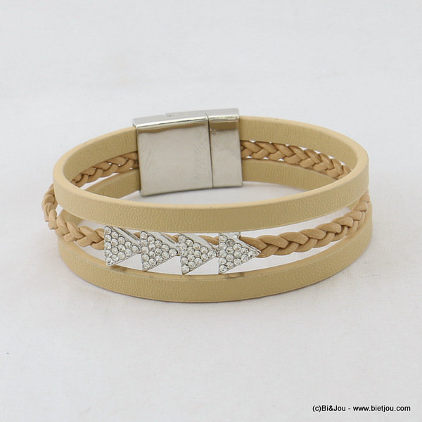 bracelet 0217014-06 magnetic clasp 15x190mm synthetic-metal-strass