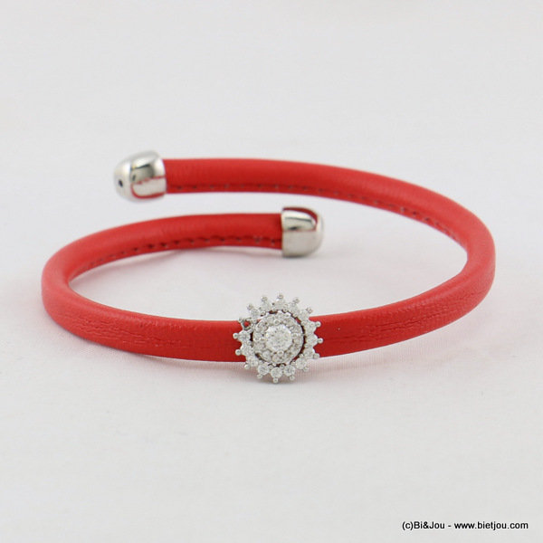 bracelet 0217018-12 spread faux-leather metal-synthetic-strass