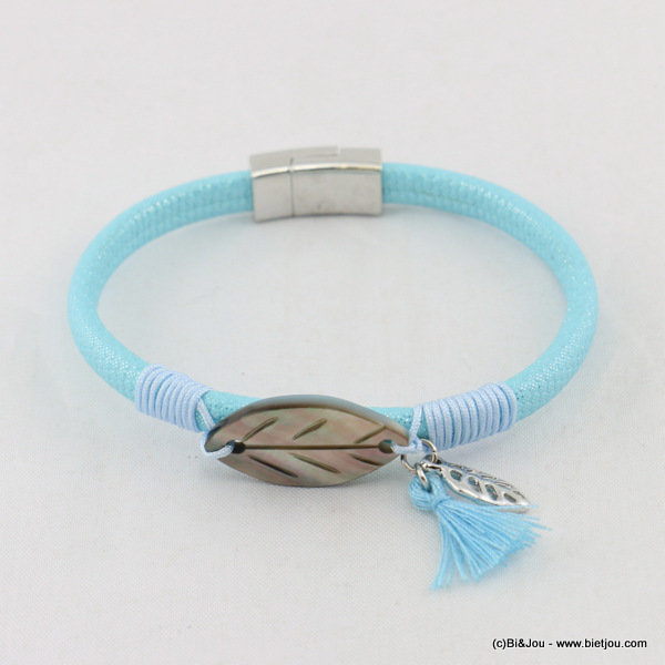 bracelet 0217054-08 faux-leather leaf tassel magnetic clasp 5x180mm synthetic-metal-polyester-shell