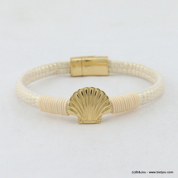 bracelet 0217055-06 faux-leather scallop  magnetic clasp 5x180mm synthetic-metal-polyester