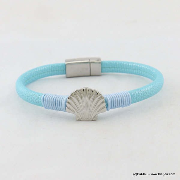 bracelet 0217055-08 faux-leather scallop magnetic clasp 5x180mm synthetic-metal-polyester