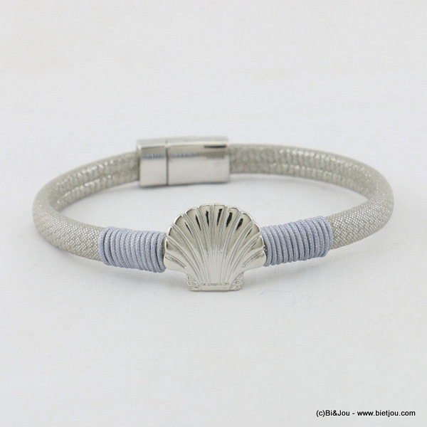 bracelet 0217055-25 faux-leather scallop magnetic clasp 5x180mm synthetic-metal-polyester