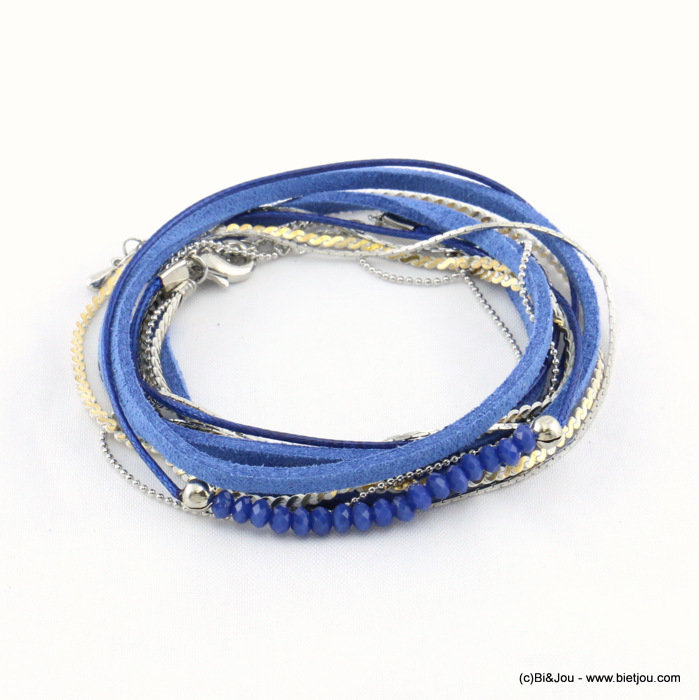 bracelet 0217173-08 multi-rows faux-suede 50cm synthetic-metal-crystal