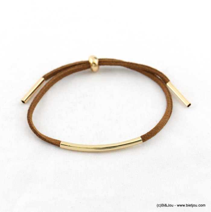 bracelet 0217174-31 faux-suede adjustable sliding synthetic-metal