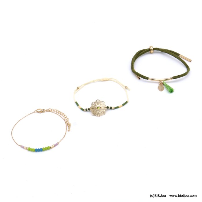 bracelet 0217175-99 set of 3 flower leaf tassel metal-crystal-polyester-strass-acrylic-cotton-suede