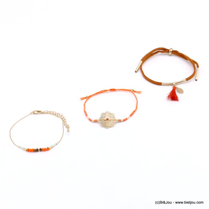 bracelet 0217177-99 set of 3 flower leaf tassel metal-crystal-polyester-strass-acrylic-cotton-suede