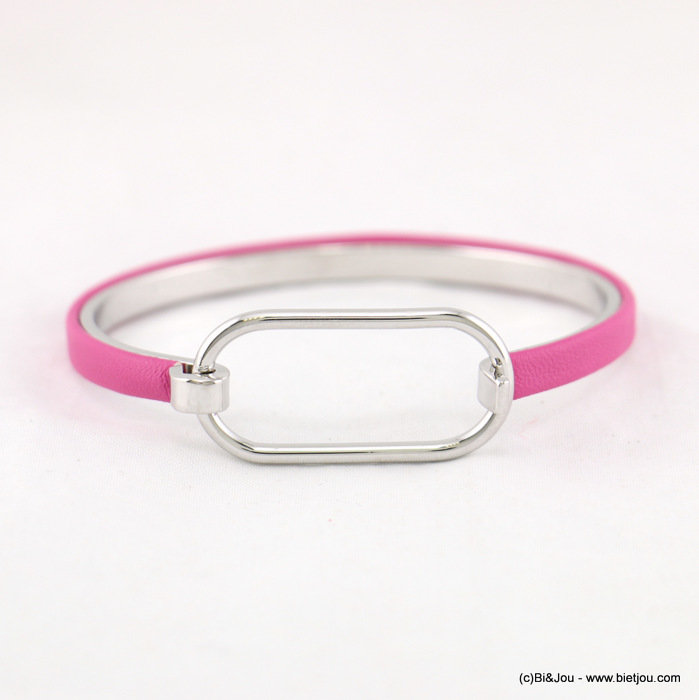 bracelet 0217184-34 jonc ouvrable femme minimaliste gainé bande simili-cuir rectangle 5x55mm métal-synthétique