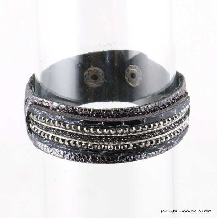 bracelet 0217520-01 adjustable 2 snap fastener 19x216mm LEATHER-metal-polyester-crystal