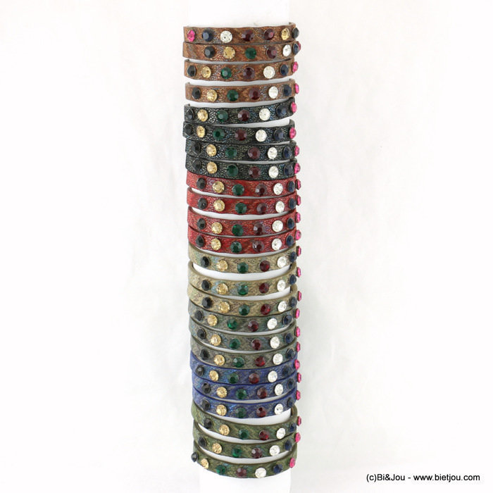 bracelet 0217559-99 set of 24 faux-leather bracelets 7 colours 8x210mm synthetic-strass-metal