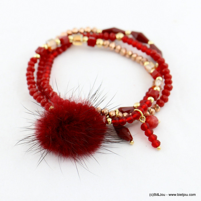 bracelet 0217927-10 multi-rows elastic faux-fur ball crystal-synthetic-metal