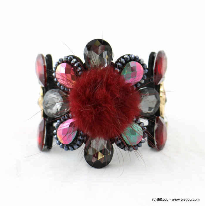 bracelet 0217929-10 magnetic cuff flower 5.5x19cm crystal-suede-strass-synthetic-metal