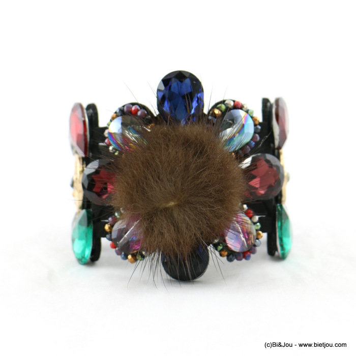 bracelet 0217929-99 magnetic cuff flower 5.5x19cm crystal-suede-strass-synthetic-metal