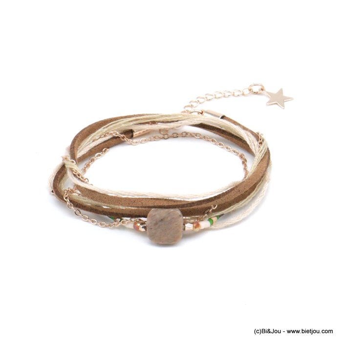 bracelet 0217934-06 multi-rows faux-suede 38cm synthetic-metal-crystal-reconstituted stone-acrylic-cotton