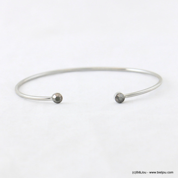 bracelet 0217940-20 open thin bangle minimalist coloured rhinestone 55mm metal